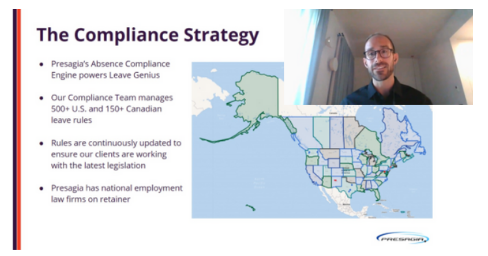 Geoff presenting the compliance strategy at the DMEC Leave Genius Pro Showcase